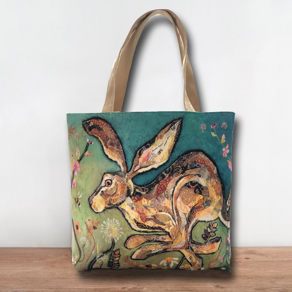 Luxury Hare Tote Bag Handmade in UK by Dawn Maciocia