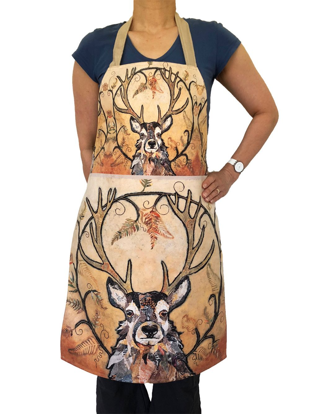Luxury Stag Apron Handmade in UK by Dawn Maciocia