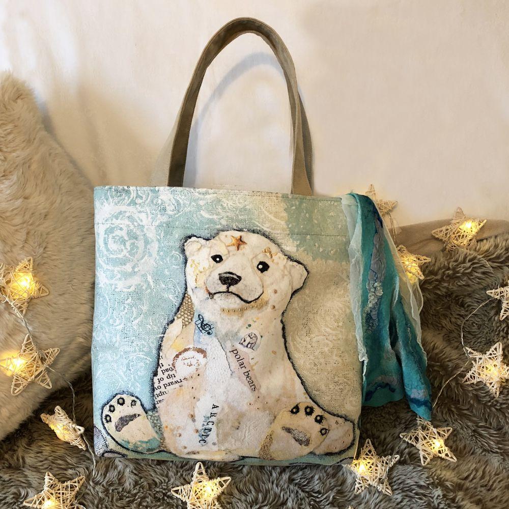 Luxury Polar Bear Tote Bag Handmade in UK by Dawn Maciocia