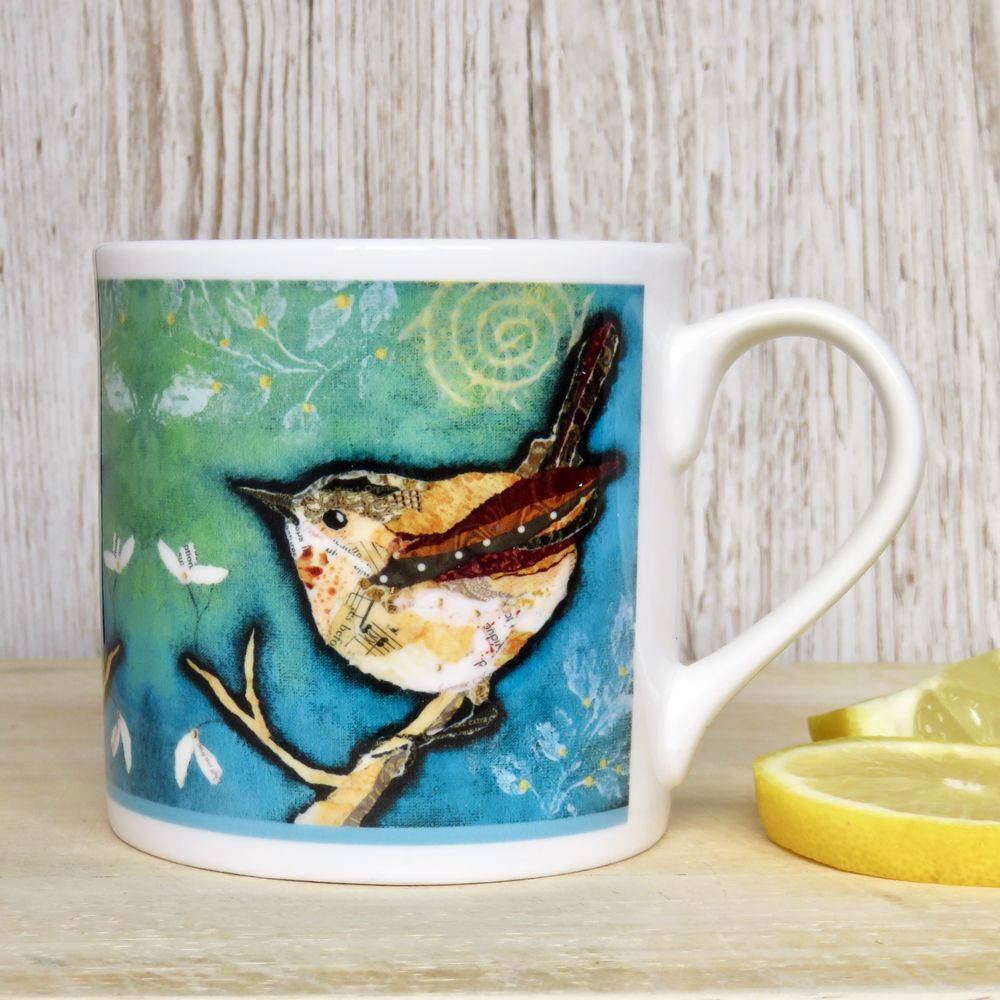 Wren On Aqua Mug Fine Bone China