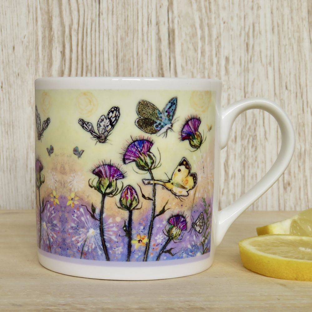 Butterflies and Thistle Mug