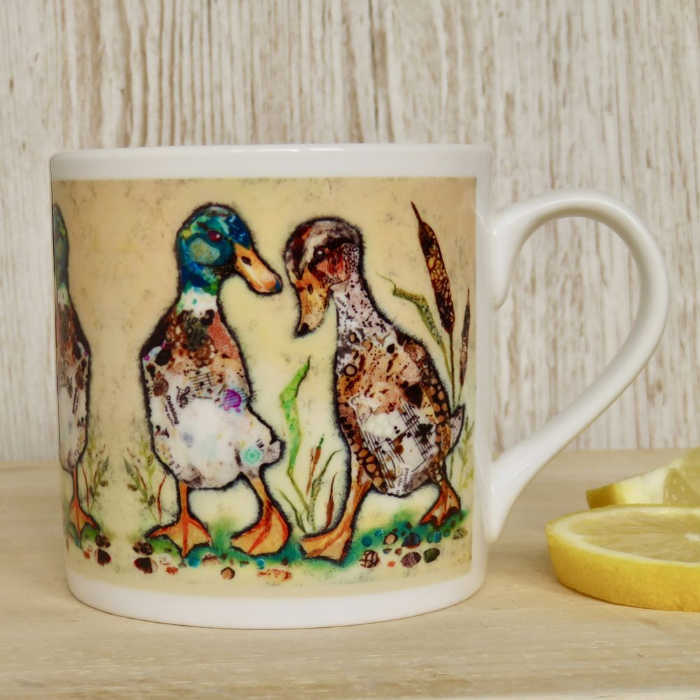 Two Ducks Walking Mug Fine Bone China
