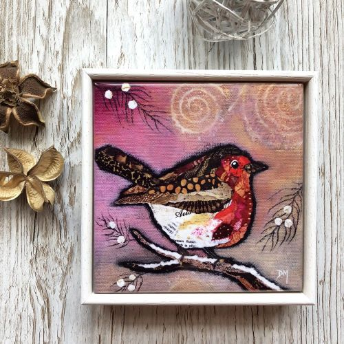 Robin on Blush- Mini Ceramic Tile
