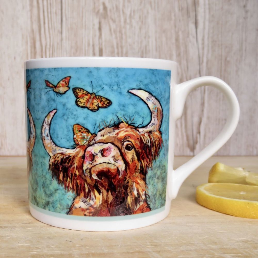 Highland Cow and Butterflies Mug