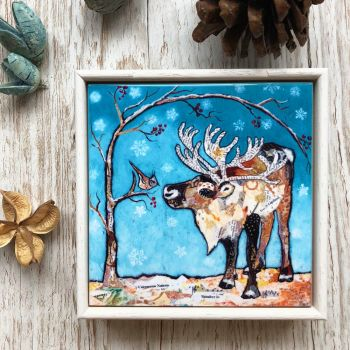 Reindeer & Bird - Mini Framed Ceramic Tile