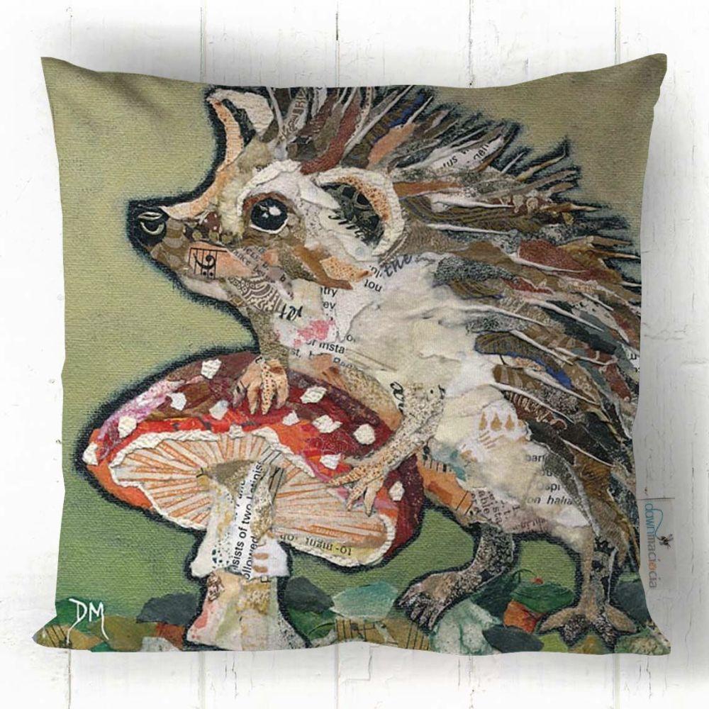Hedgehog and Toadstool Printed Cushion