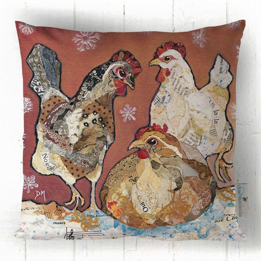 Three French Hens - Cushion