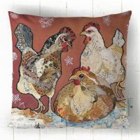 Three French Hens - Cushion