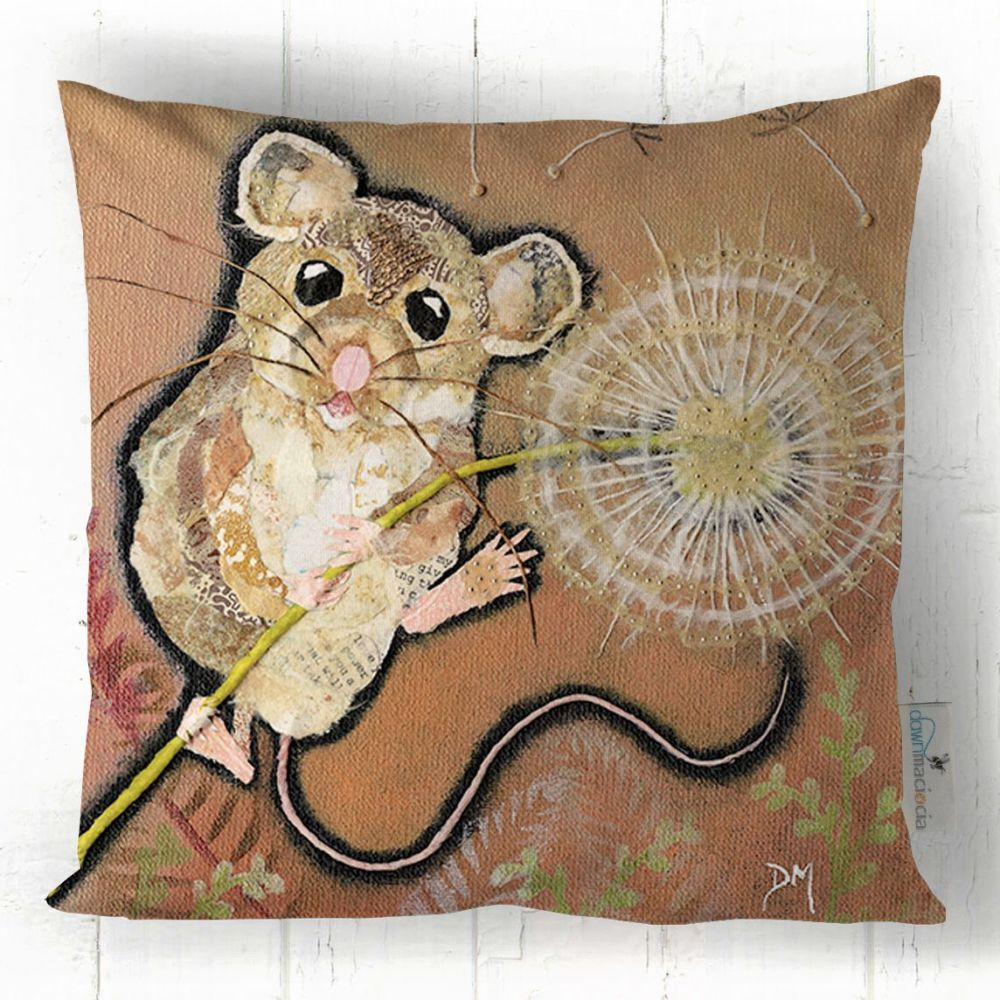 Mouse and Dandelion Printed Art Cushion
