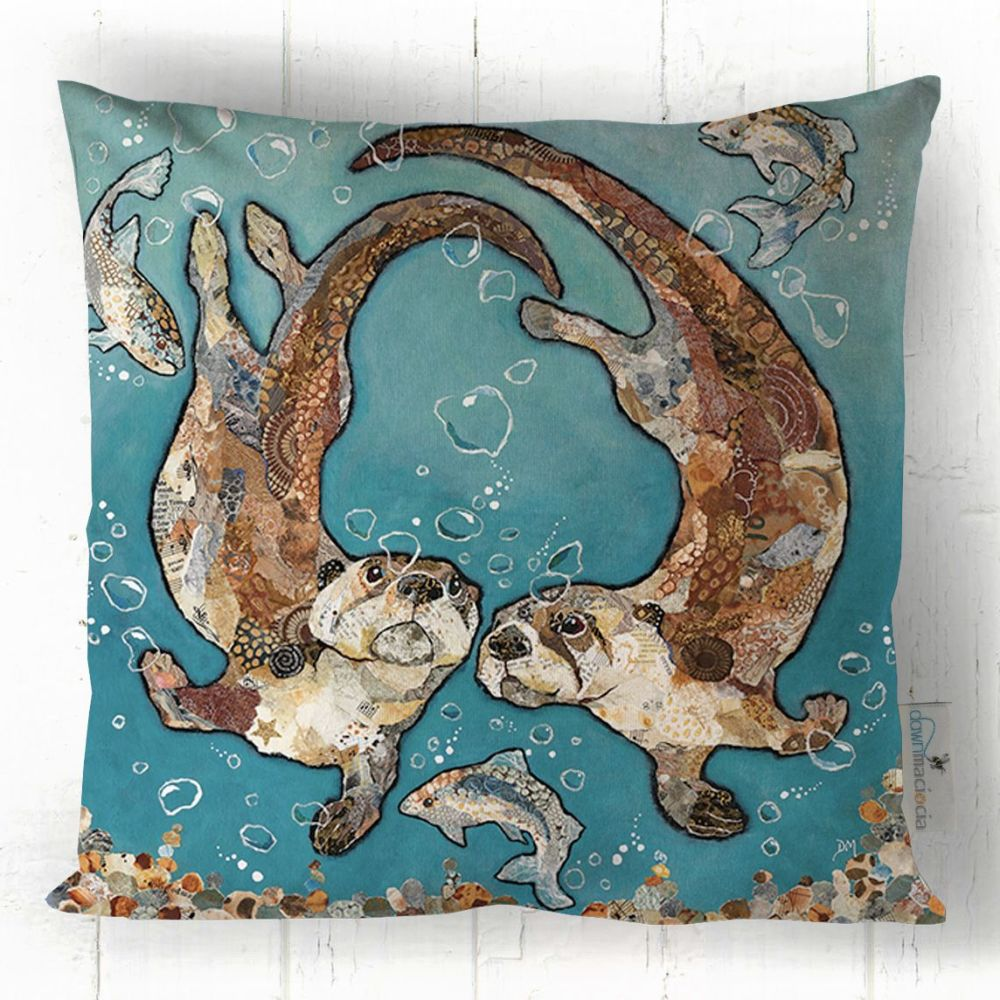 Otters Swimming Undwater Cushion