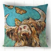 Buttercoo - Highland Cow & Butterflies Blue & Brown Sofa Cushion