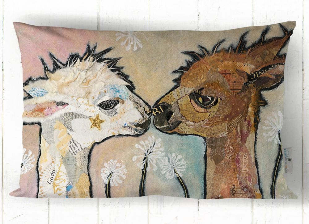 Two Alpacas Kissing Art Cushion