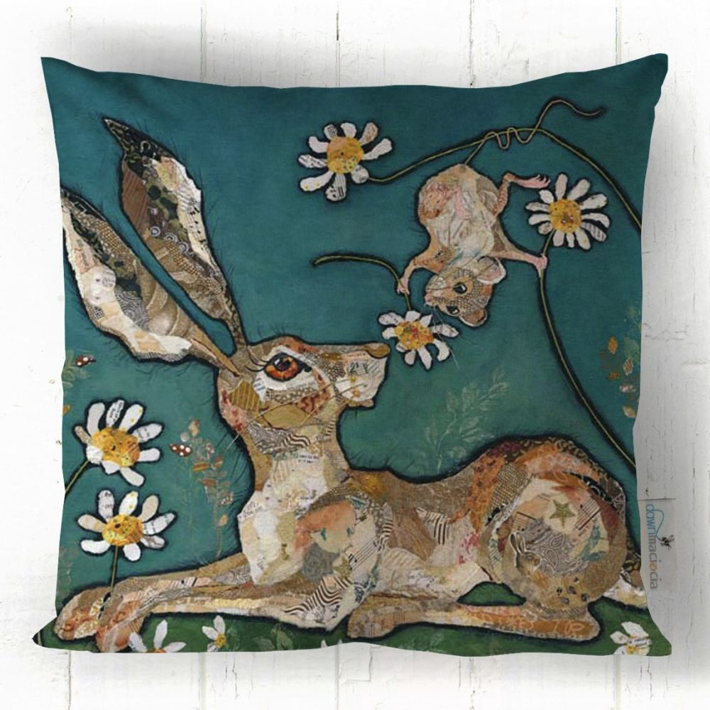 Hare and Mouse Art Cushion