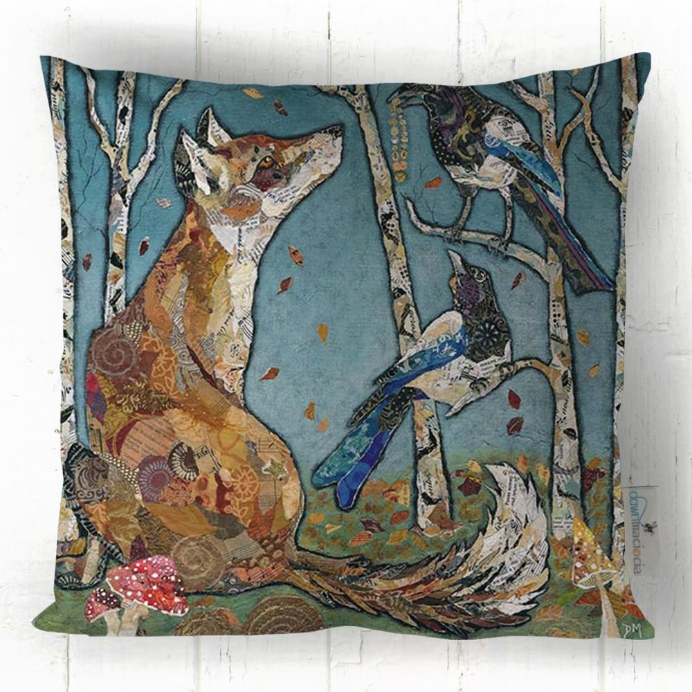 Fox and Magpies in Forest Art Cushion