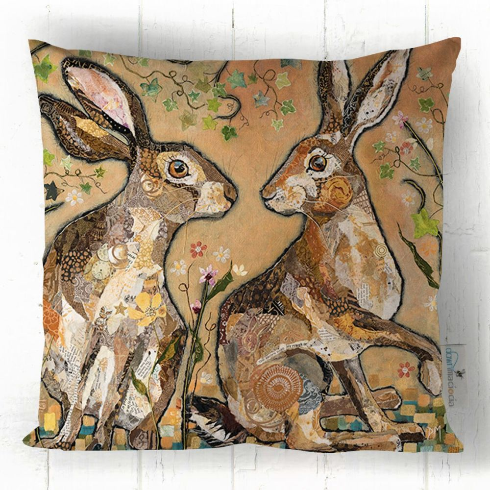 Two Hare Friends Looking Art Cushion