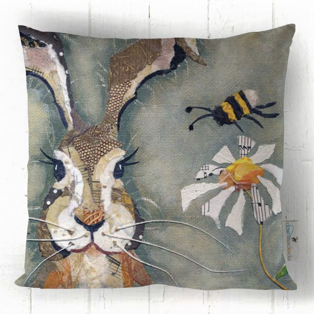 Hare & Bumble Bee Art Cushion