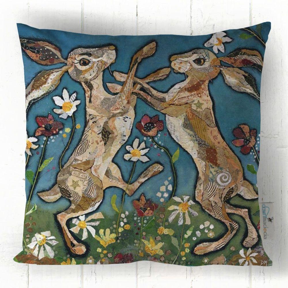 Boxing Hares Art Cushion