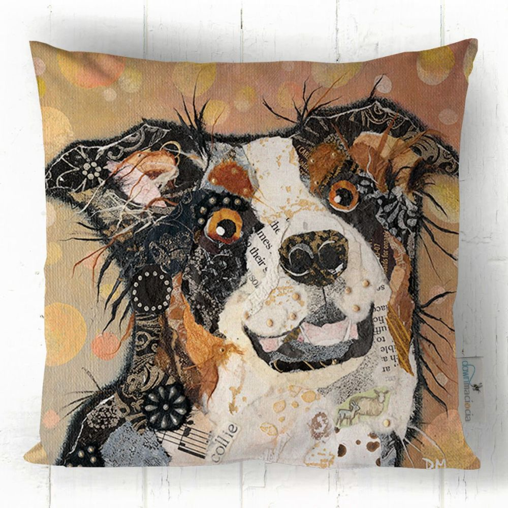 tri-Colour Border Collie Dog  Cushion