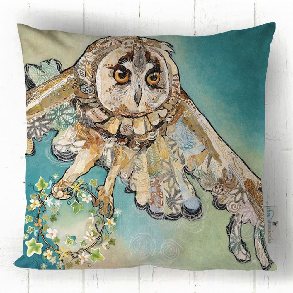 Flying Barn Owl Printed Art Cushion