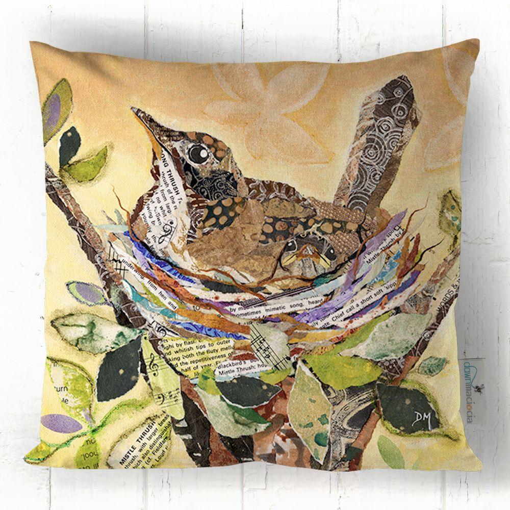 Thrush on Nest Printed Art Cushion