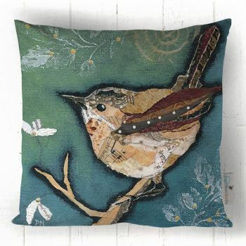 Wren on Aqua - Cushion