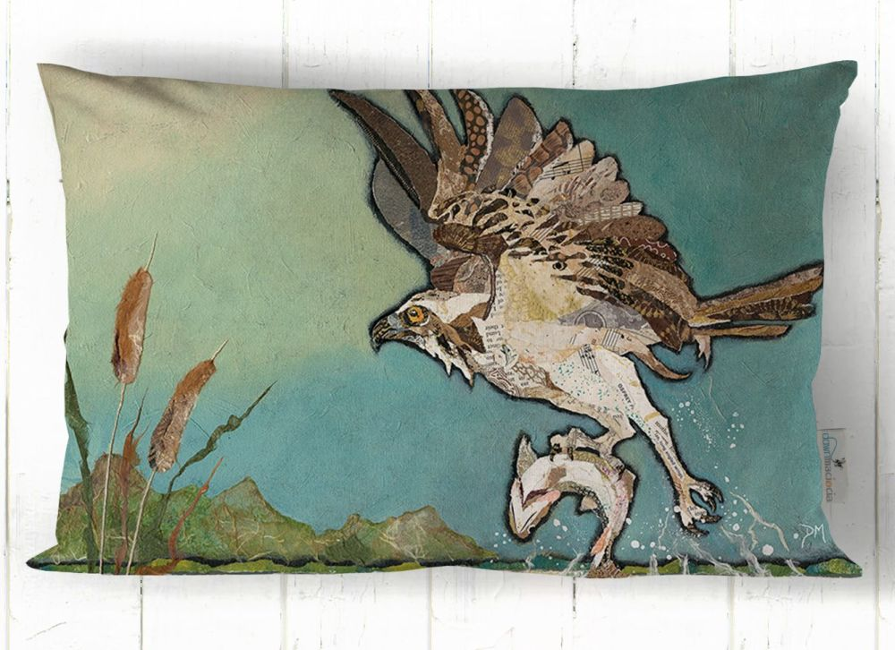 Flying Osprey Rectangular Art Cushion