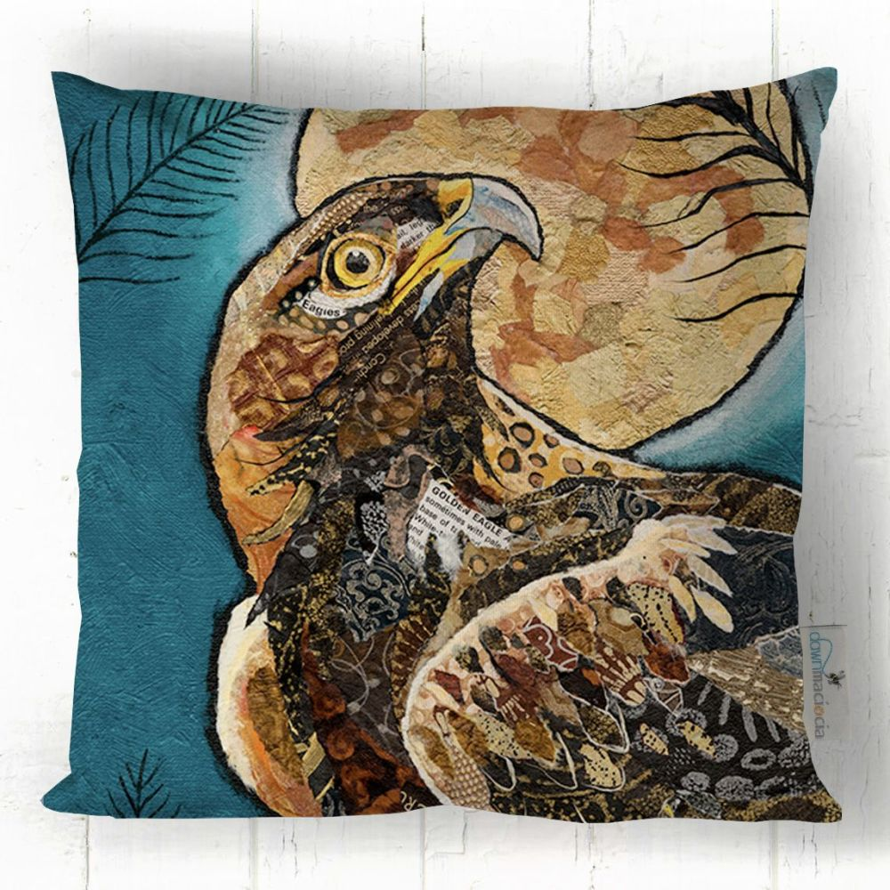 Golden Eagle and Moon Square Cushion