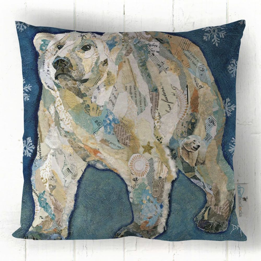 Polar Bear Torn Paper Art Cushion