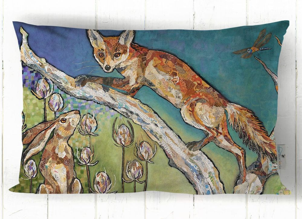 Fox on Branch and Hare Art Cushion