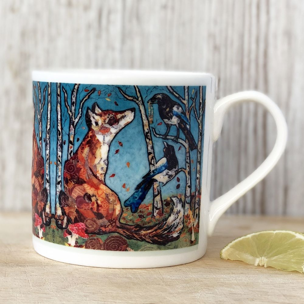 Fox & Magpie in Forest Mug - Fine Bone China