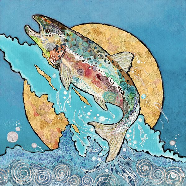 Salmon Leaping (on blue)- Large Print