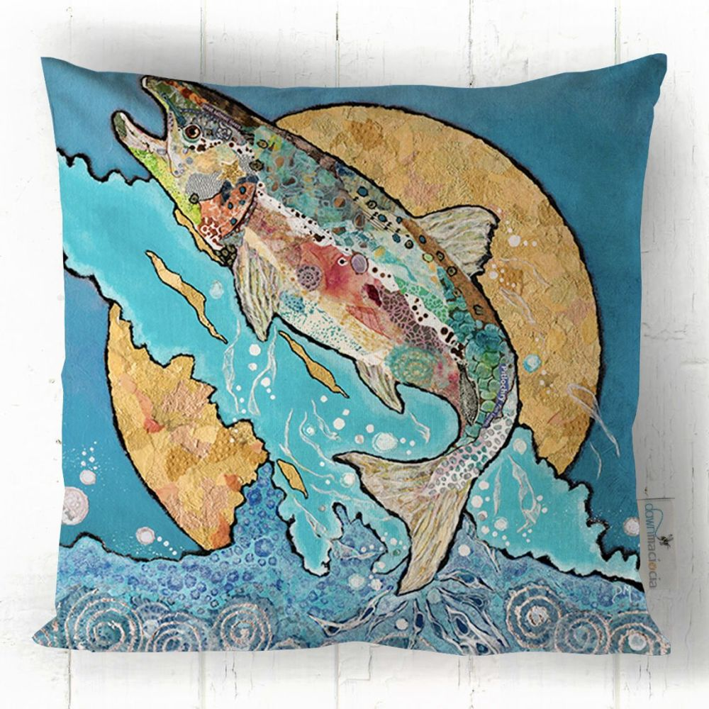 Salmon Leap (on blue) - Cushion