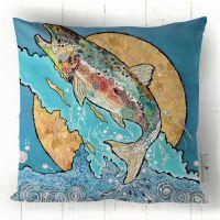 Salmon Leap (on blue) - Cushion