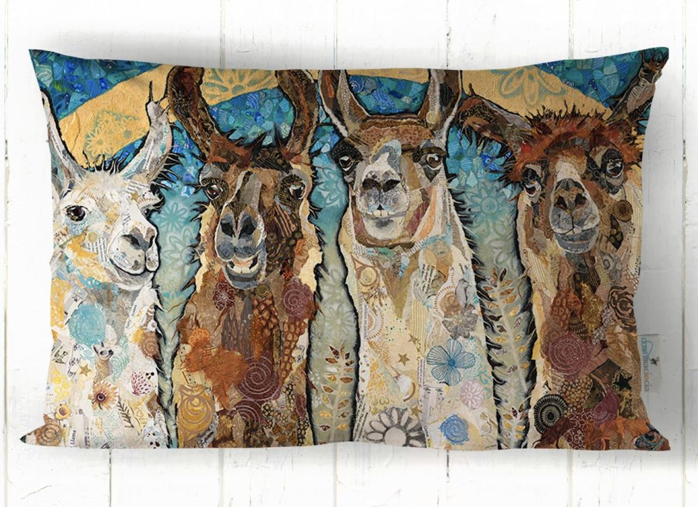 Four Llama Friends Printed Cushion