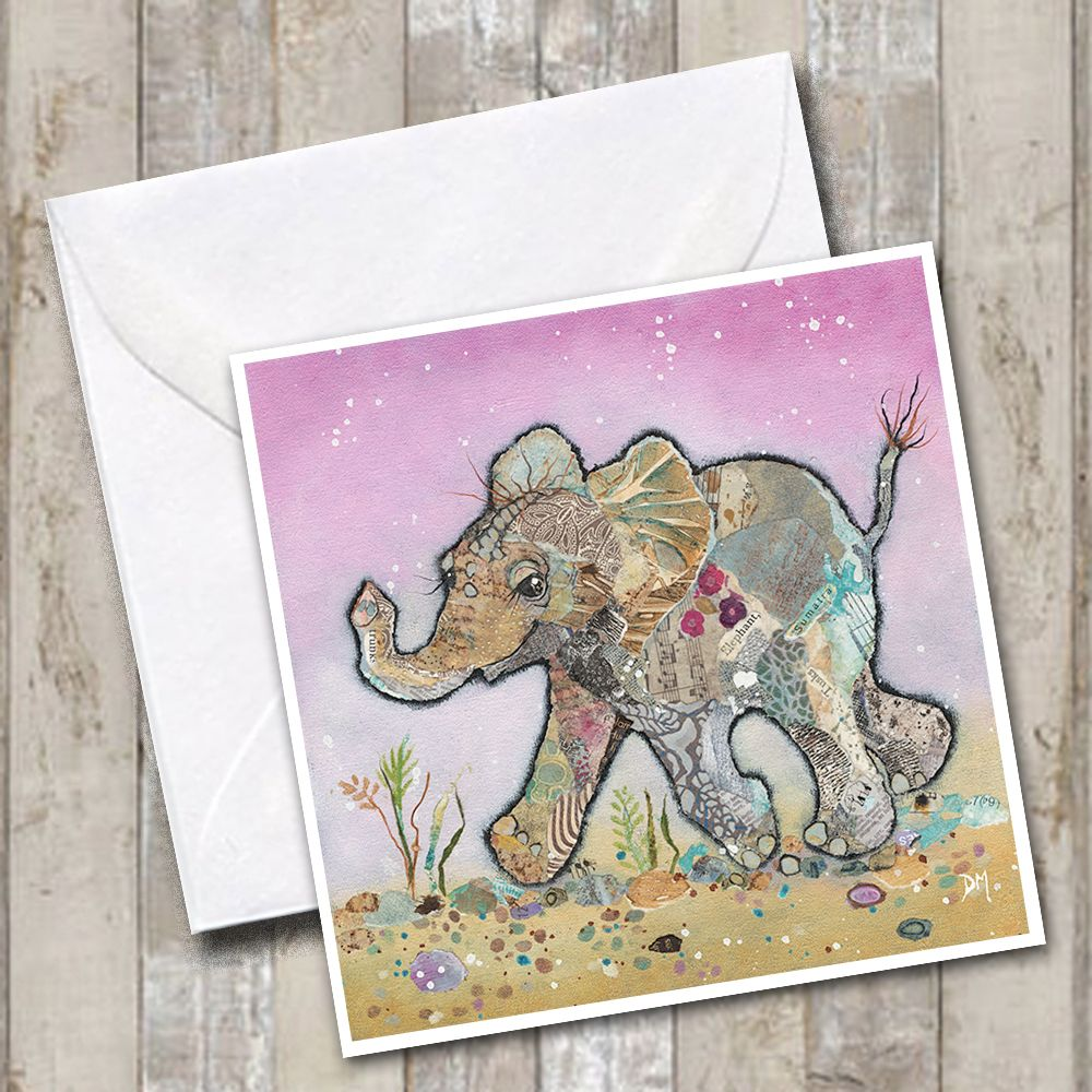 Baby Elephant Running on Pink Background Art Greetings Card