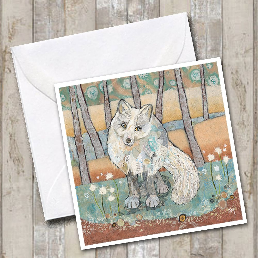 Arctic Fox in Woodland Torn Paper Art Printed Greetings Card
