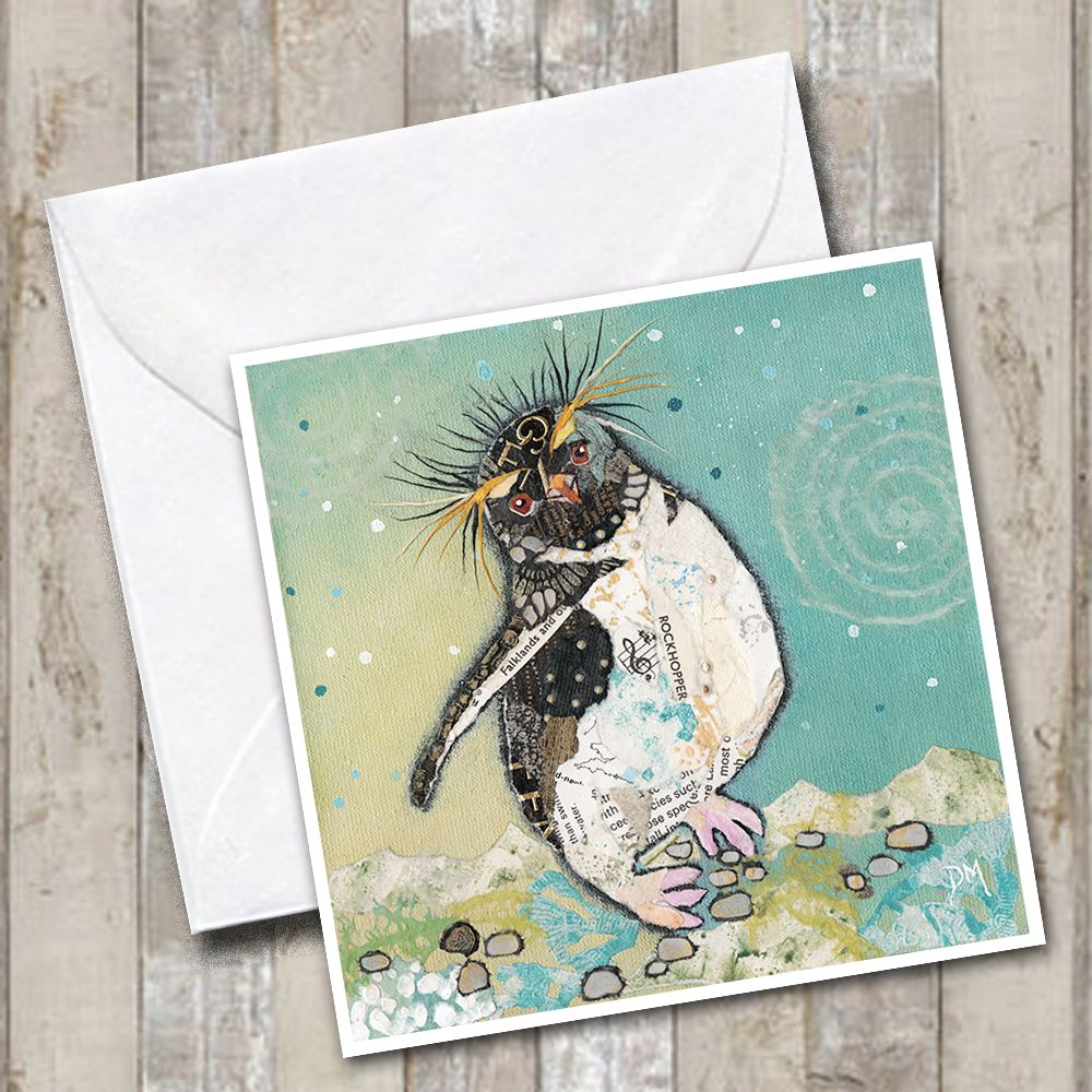 Rockhopper Penguin Torn Paper Art Greetings Card