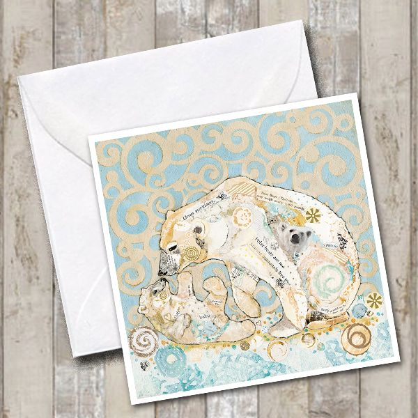 Polar Bear Kissing her Cub Torn Paper Art Greetings Card
