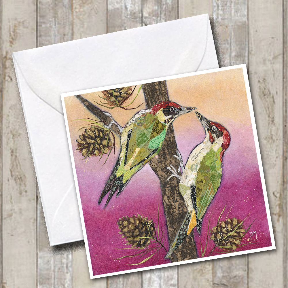 Woodpecker Art Greetings Card