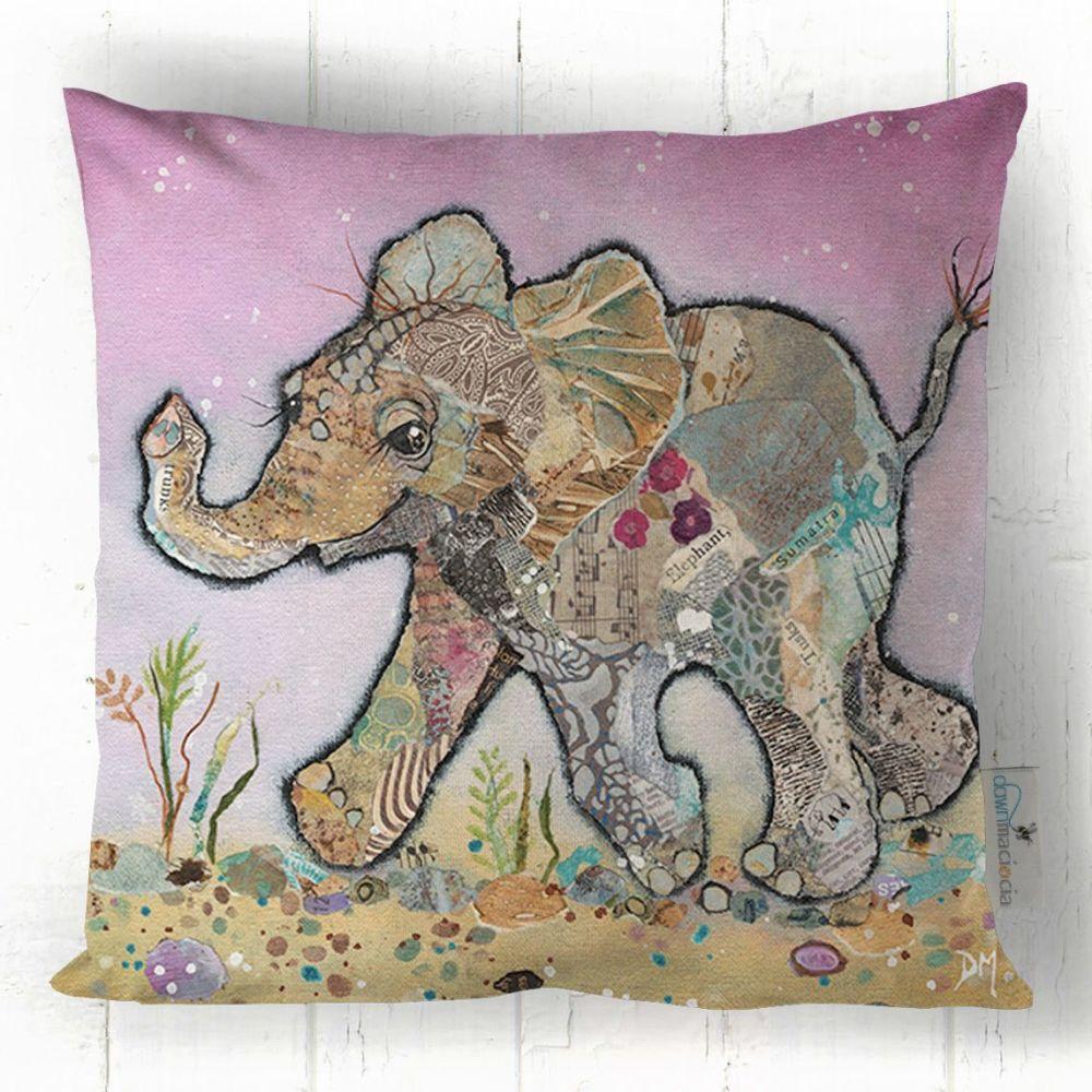 Baby Elephant Running Art Cushion
