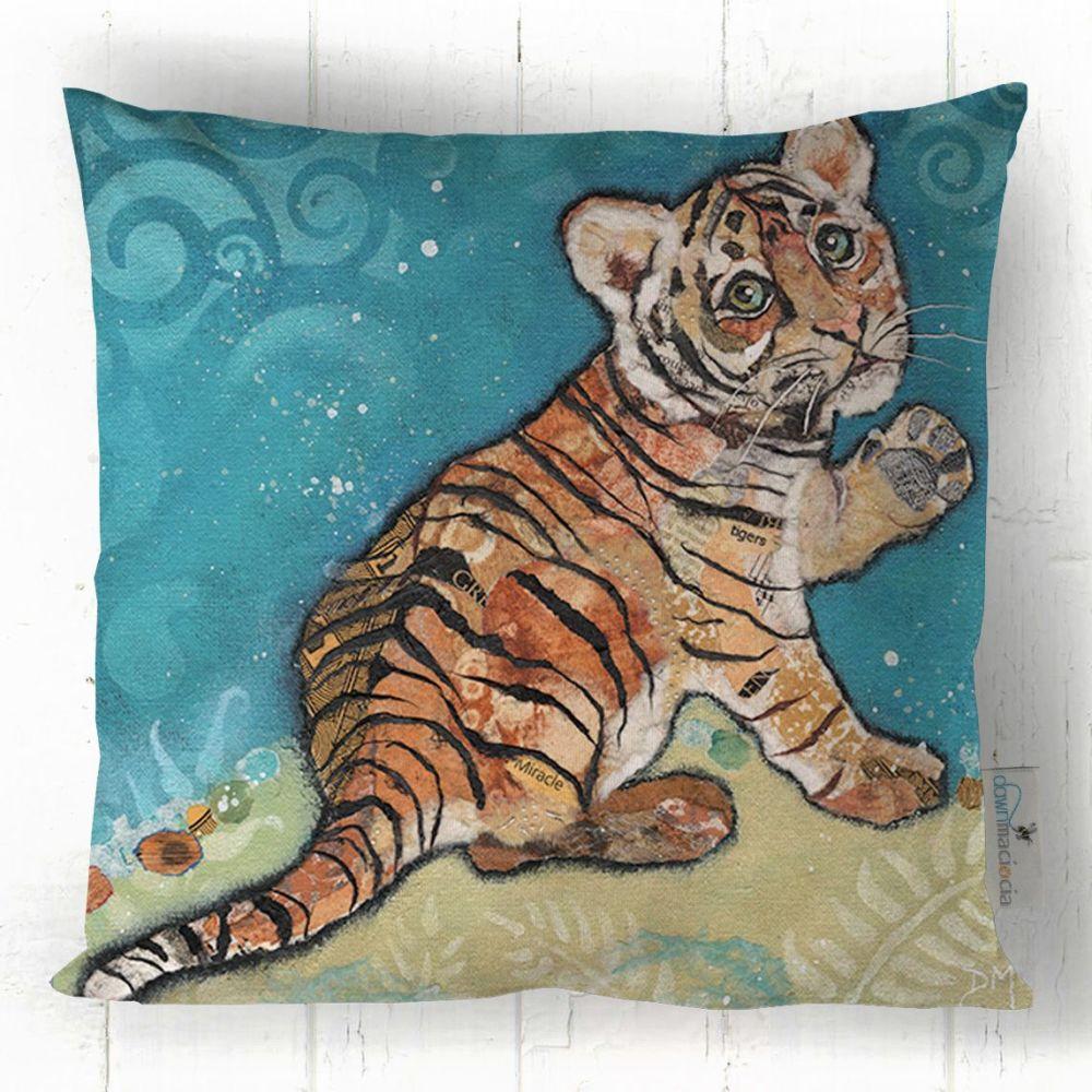 Baby Tiger Cub Art Cushion