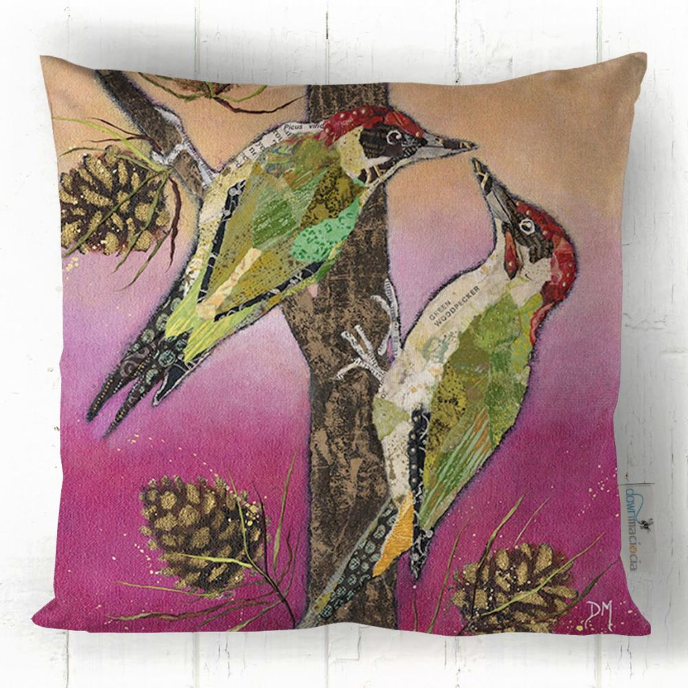 Two Woodpeckers Printed Cushion