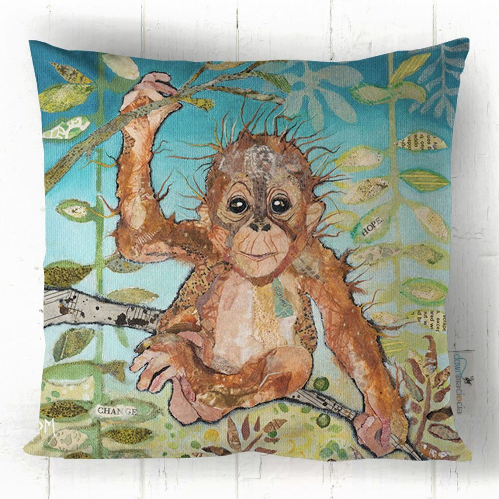 Baby Orangutan Printed Art Cushion