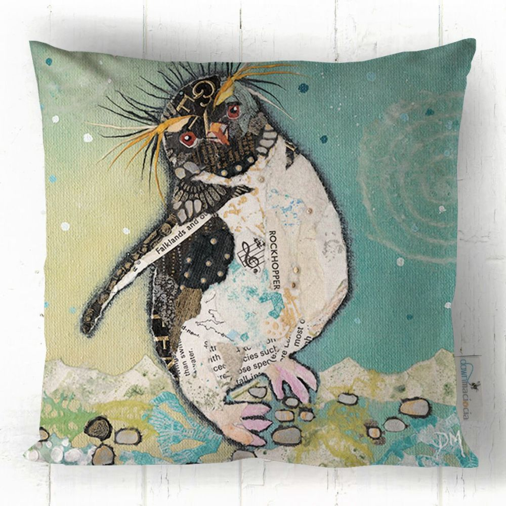 Rockhopper Penguin Printed Art Cushion