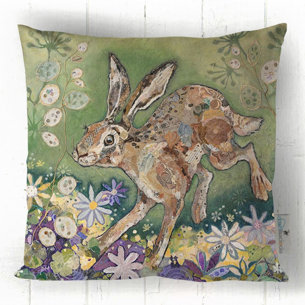 Leaping Hare Printed Art Cushion