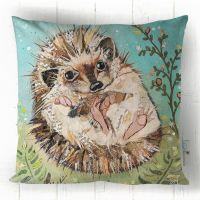 Fern - Hedgehog Green, Teal & Brown Sofa Cushion