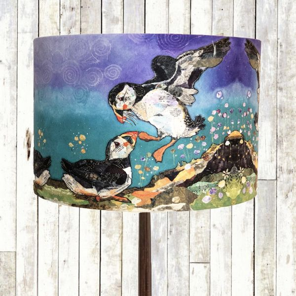 Love on the Rocks Puffin - Drum Lampshade