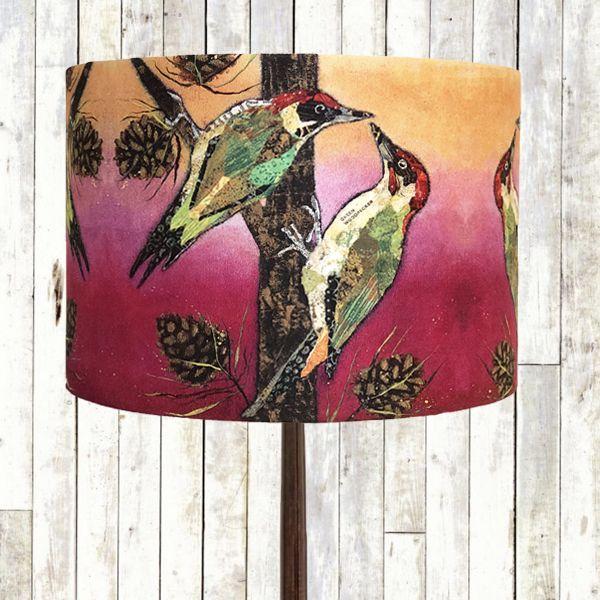 Handmade Woodpecker Lampshade by Dawn Maciocia