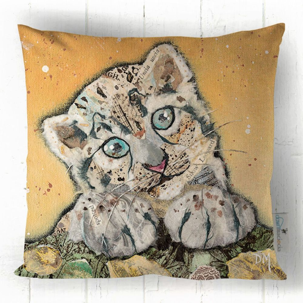 Snow Leopard Cub Printed Cushion