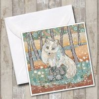 Arctic fox with snow Card